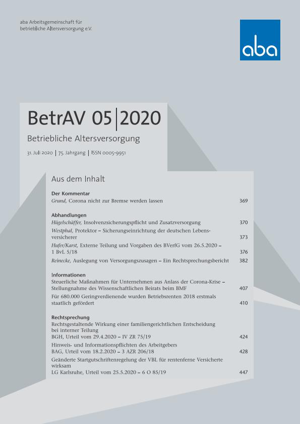 BetrAV-Ausgabe 5/2020 erschienen