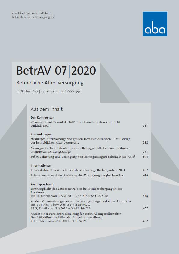 BetrAV-Ausgabe 7/2020 erschienen
