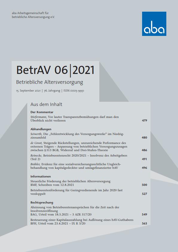 BetrAV-Ausgabe 6/2021 erschienen