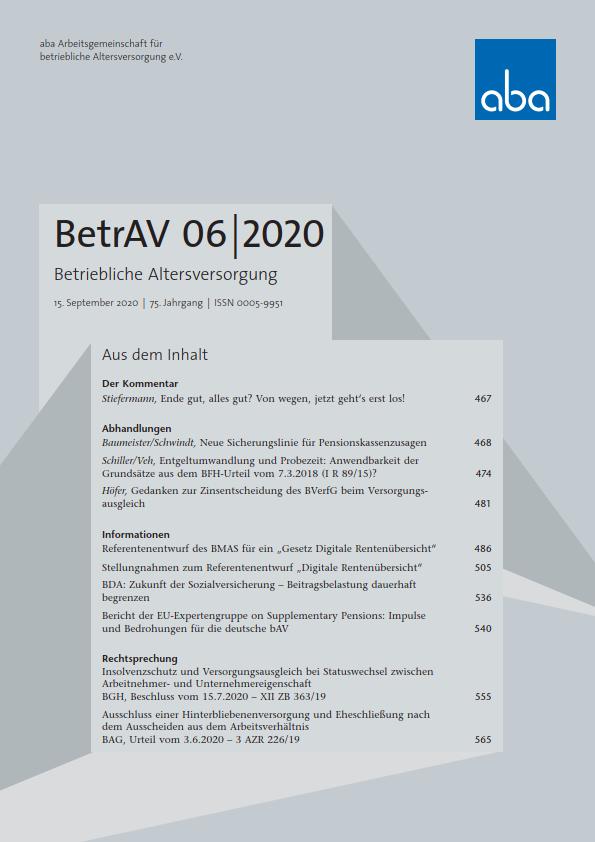 BetrAV-Ausgabe 6/2020 erschienen