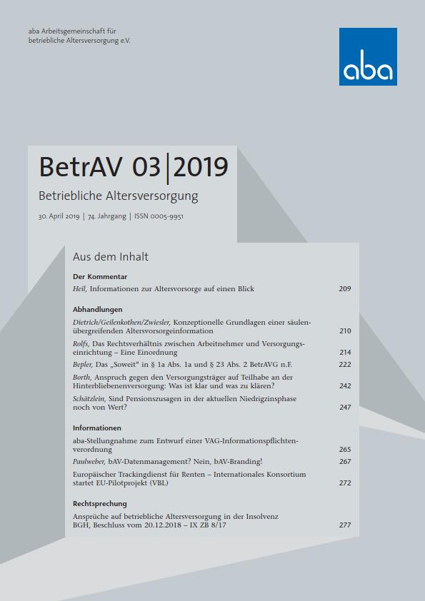 BetrAV- Ausgabe 3/2019 erschienen